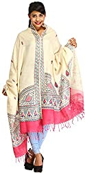 Exotic India Almond-Oil Dupatta from Bengal with Printed Madhubani M - Off-White
