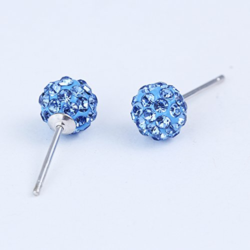 Blue-Sapphires-Silver-Earrings-Ear-Studs-Tribal-Earrings-Blue-Crystal-Pearl-Double-Sides