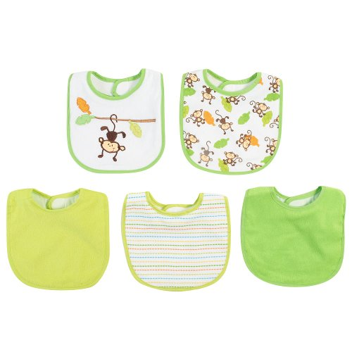Babies R Us Boys Bib 5 Pack - Monkey