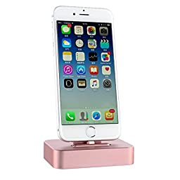 Apple iPhone Charger Stand tablet Desktop, Fogeek Stable Sync Charging Dock Station [Cradle Holder] for iPhone 6s, 6S Plus, 6, 6 Plus, 5S, 5C MFI Lighting Cable Included (Rose Gold)
