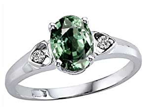 Tommaso Design Oval 7x5mm Genuine Green Sapphire and Diamond Ring 14k Size 6