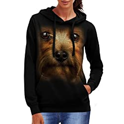 Wellcoda | Yorkshire Terrier Dog Womens Yorkie Black Hoodie S-2XL