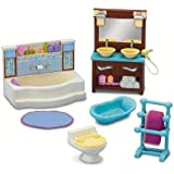 Fisher Price Loving Family Dollhouse Deluxe Decor Furniture - BATHROOM with Bathtub, Towel Rack with Towel, Toilet Bowl, Baby Bathtub, Vanity Drawer Cabinet with Double Sink and Rug (Dollhouse Sold Separately)