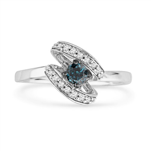 Platinum Plated Sterling Silver Blue and White Round Diamond Promise Ring (1/4 cttw)