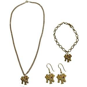 New York Yankees Ladies Gold-Tone Jewelry Gift Set