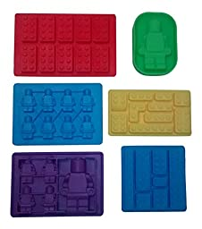 Lego Chocolate and Candy Molds, 6pc Deluxe Set of Various Sized Bricks and Lego Men / Robots, for Gummies, Hard Candy and More W Recipe and Idea Booklet, 100% Premium Food Grade Silicone By Happy Cook
