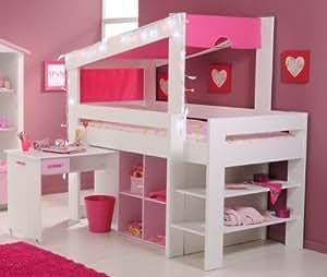 Ragazza cameretta letto a soppalco 90 x 200 con scrivania bianco rosa parisot casa e - Letto a soppalco amazon ...
