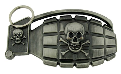 Grenade Shaped Hand Bomb Military Winged Army Weapon Vintage Men Belt Buckle (Skull Grenade Shaped Size 4.5