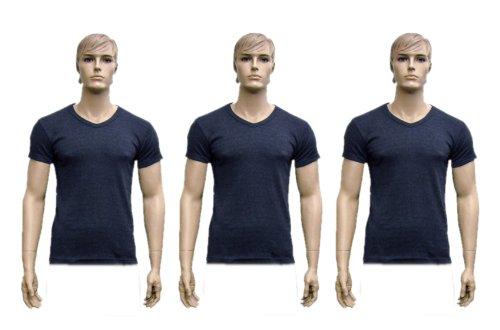 3er Pack Männer Thermo-Unterwäsche V Auschnitt kurzärmliches Unterhemd denim, extra groß