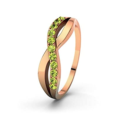21DIAMONDS Women's Ring Brookelyn Peridot Round Brilliant Cut Engagement Ring, 18 K Rose Gold Engagement Ring
