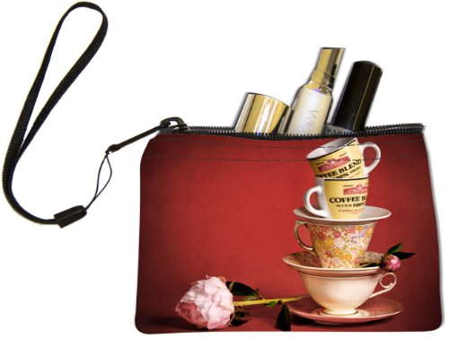 Rikki KnightTM Vintage Tea Cups with Flowers Design Keys Coins Cards Cosmetic Mini Clutch Wristlet