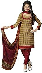 The Desi Attire Women's Crepe Unsticthed Dress Material (104_Beige_38)