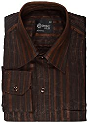 Koutons Men's Formal Shirt (HD-106--38, Brown, 38)