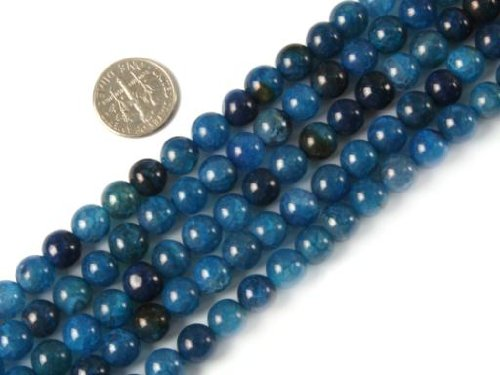 Sweet & Happy Girl'S Store 8Mm Round Gemstone Blue Crackle Agate Beads Strands 15