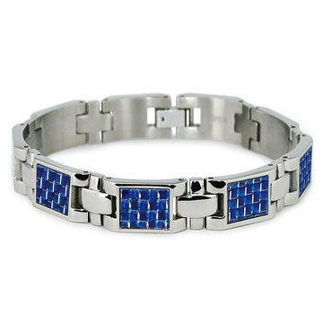 Mens Titanium Bracelet with Blue Carbon Fiber