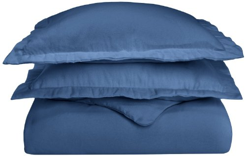 Flannel Cotton Duvet Cover Set, Twin, Solid Navy Blue (Flannel Duvet Cover Twin compare prices)