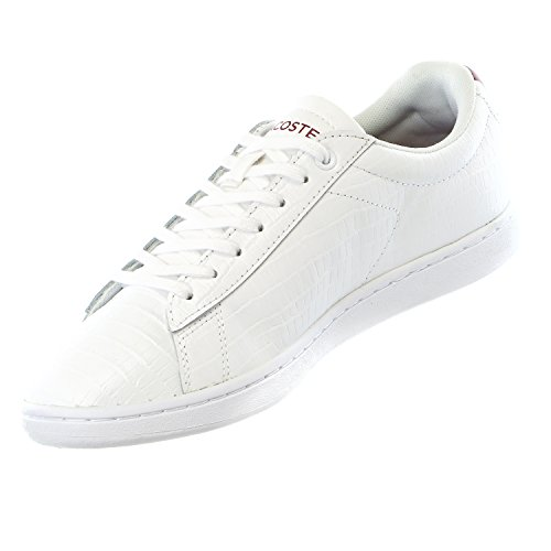 Lacoste Women's Carnaby Evo Mid G316 2 Fashion Sneaker, White/Red, 9 M US
