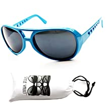 A17-vp Elvis Aviator Vintage Retro Party Sunglasses Mens Womens (Blue, Uv400)
