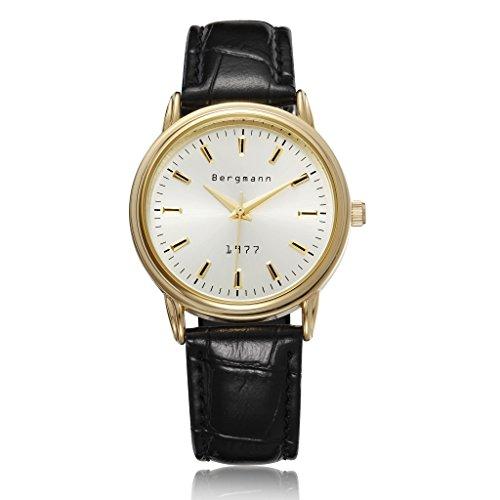 Bergmann Brand Gold Classic Watch For Men Black Leather Vintage Gents Watches Quartz 1977