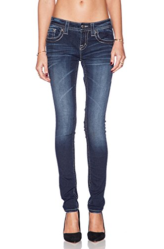 Miss Me Jeans Women's Double Black Angel Wing Skinny Dark Wash