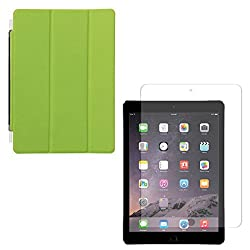 DMG Ultra Slim Magnetic Smart Shell Stand Cover Case for Apple iPad Air 2 (Lime Green) + Tempered Glass Screen Protector