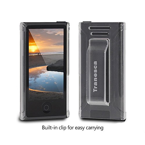 Tranesca Rubber Shell Case with Belt Clip and Tempered Glass Screen Protector for iPod Nano 7th and 8th Generation - Clear (Ipod Nano Clip 7th Generation compare prices)