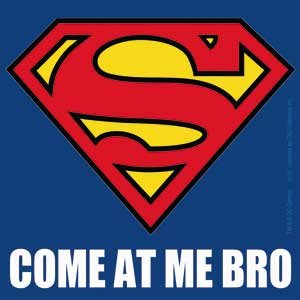 Licenses Products DC Comics Superman Come At Me Bro Logo Small Sticker
