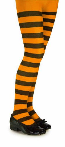 Orange and Black Striped Tights - Child