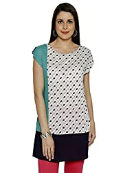 Funk For Hire Women Rayon Kite printed Blocked Tunic (White/Turquoise/Navy, Size XL)