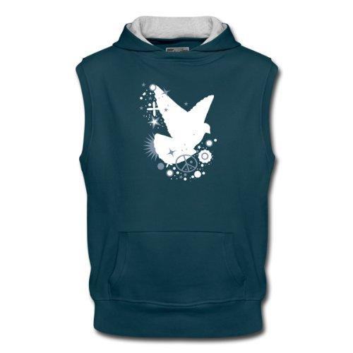 Spreadshirt, friedens_taube, Men's Sleeveless Hoodie, petrol/ash, XL