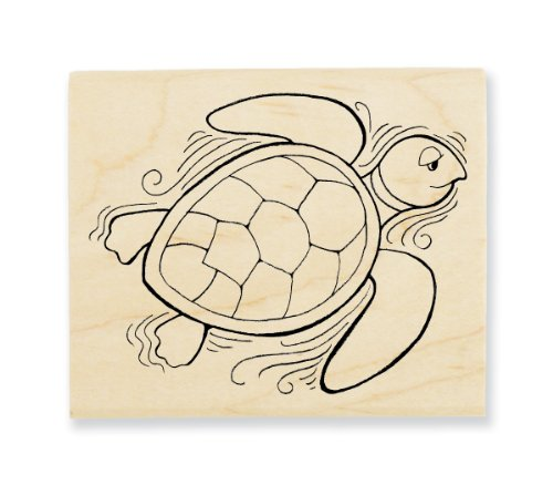"Stampendous Wooden Handle Rubber Stamp, ""Pen Pattern Turtle"" - 1"