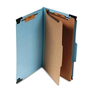 "Smead Products - Smead - 6-Section Hanging Classification Folder, Pressboard/Kraft, Legal, Blue - Sold As 1 Each - SafeSHIELDTM coated fastener technology - Heavy-duty 23-pt. pressboard folders feature pivoting hangers for convenient portability. - 1"" capacity prong fasteners inside front and back covers and both sides of Kraft center dividers. - Matching Tyvek tape gusset expands up to 2"". - Self tabs: 2/5 cut tabs, right of center on folders; 1/3 cut tabs on dividers."
