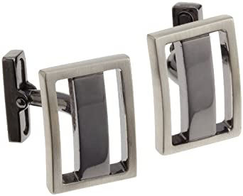 Kenneth Cole Mens Brushed Rhodium Rectangle With Polished Hematite Center Bar Cufflinks, Silver, One Size