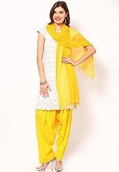 Castle Women's Salwar With Dupatta (Yellow_Free Size)