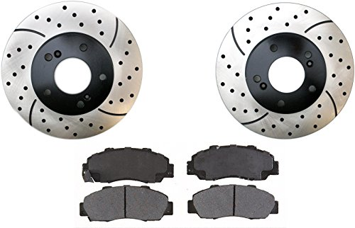 Prime Choice Auto Parts SMKPR42984298503 2 Front Performance Drilled and Slotted Brake Rotors and Semi Metallic Brake Pads Set (Auto Parts Acura Legend 94 compare prices)