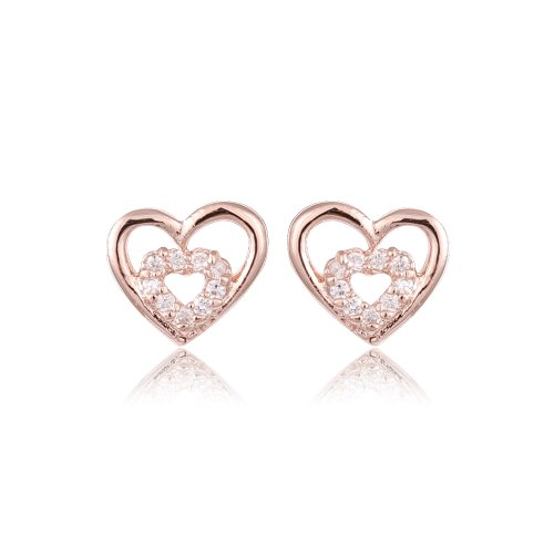 FASHION PLAZA Rose Gold Finish & Clear Swarovski Crystal Heart Stud Earrings E319