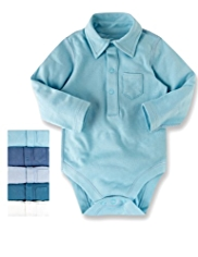 5 Pack Pure Cotton Collared Bodysuits