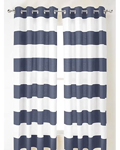 Nautica Cabana Stripe Curtain, Blue