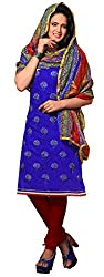 Lovely Look Royal Blue Embroidered Dress Material