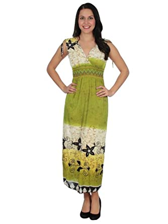 Simplicity Misses Batik Style Summer Dress with Smocked Waist, Ankle