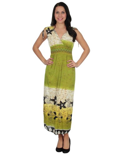 Simplicity Soft Sleeveless Maxi Dress W/ Floral Print And Shirred Waist, Green