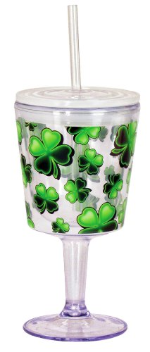 Spoontiques Green Shamrocks Double Wall Insulated Wine Goblet with Straw (12-ounce Capacity)