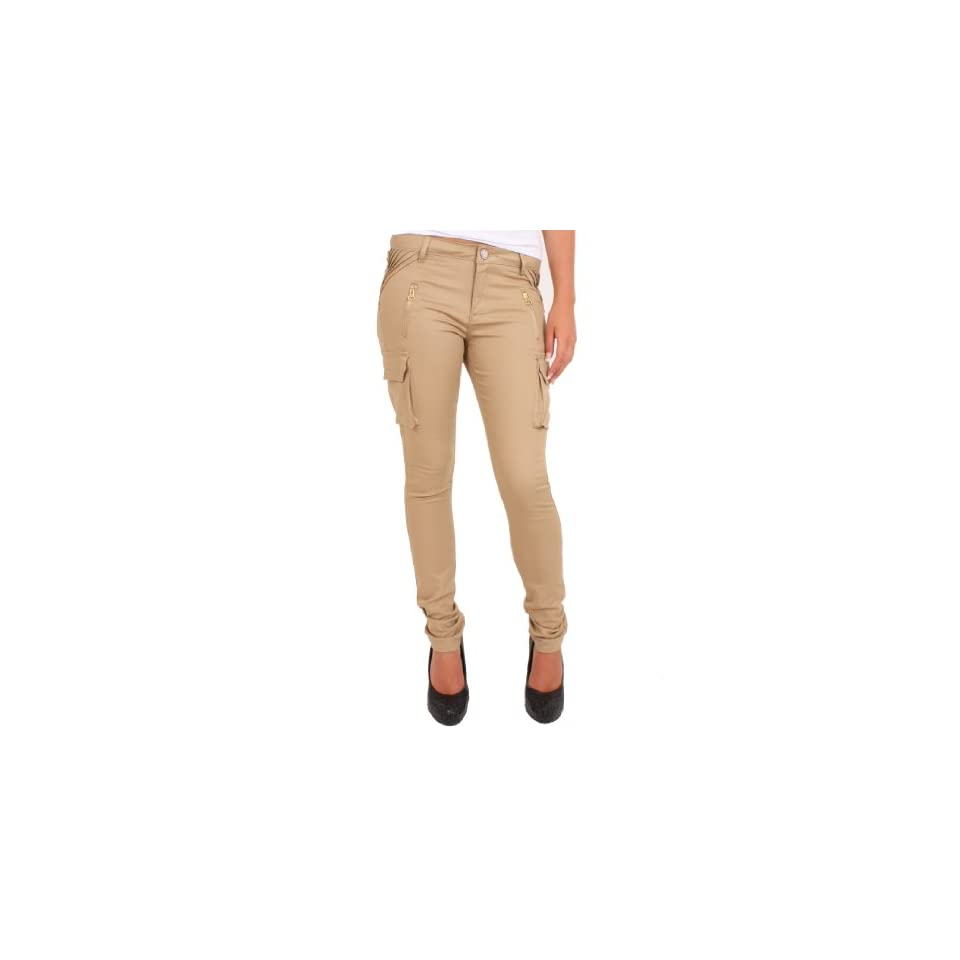 Romeo & Juliet Couture Zippered Pocket Cargo Pants in Beige, 31