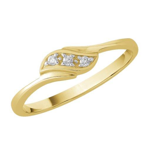 9K Yellow Gold 0.04 ct. Diamond Wedding Band