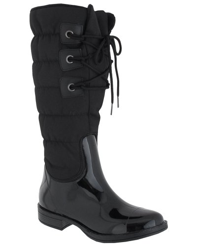 Capelli New York Nylon Quilted Lace Up Shaft Ladies Tall Saddle Jelly Rain Boot Black 6