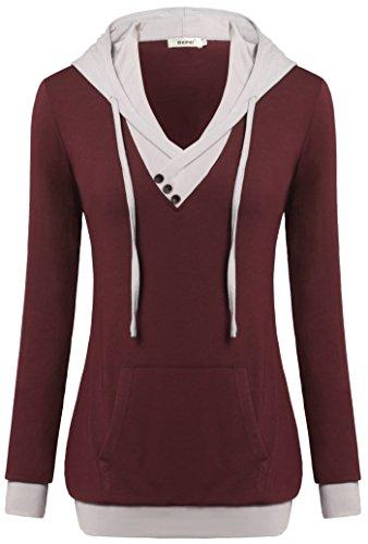 Women Sweatshirts,Bepei Long Sleeves Hoodies Fall Fashion Clothing Tunic Wine M