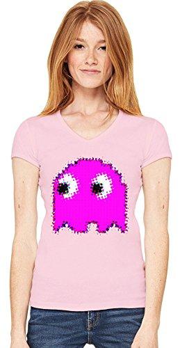 Pink Pac-Man Womens V-neck T-shirt - S to XXL