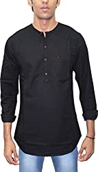 AA' Southbay Men's Black 100% Cotton Long Sleeve Solid Amsler Casual Short Kurta