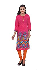 KIMYRAA Women's Cotton Kurta (KLK-1017-PINK-XXL)