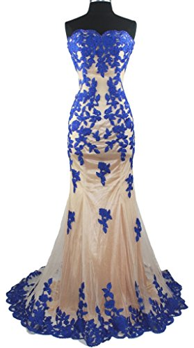 Meier Women's Strapless Lace Bead Formal Evening Gown Royal S